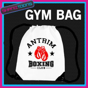 ANTRIM BOXING CLUB BOXER GYM  BODYBUILDER DRAWSTRING WHITE GYMSAC BAG